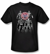Justice League Superheroes T-shirt - Shades Of Gray Adult Black Tee