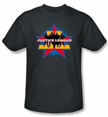 Justice League Superheroes T-shirt - Stand Tall Adult Charcoal Tee