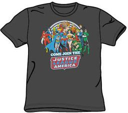 Justice League T-shirt Come Join The Justice League Charcoal Tee