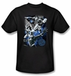 Justice League T-shirt Galactic Attack Nebula Black Tee