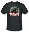 Justice League T-shirt - JLA Trio Adult Charcoal Gray Tee