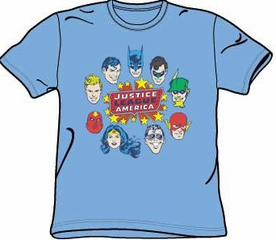 Justice League T-shirt - Justice Head Circle Adult Carolina Blue Tee