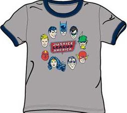 Justice League T-shirt Justice Head Circle Gray/Navy Ringer Tee