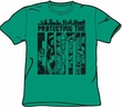 Justice League T-shirt - Protecting The Earth Adult Kelly Green Tee