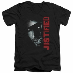 Justified Slim Fit V-Neck Shirt Raylan Givens Gun Black T-Shirt
