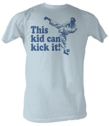 Karate Kid T-Shirt - Kick it Adult Light Blue Tee Shirt