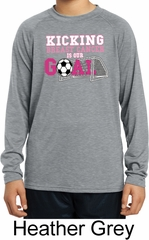 Kicking Breast Cancer is Our Goal Kids Dry Wicking Long Sleeve Shirt
