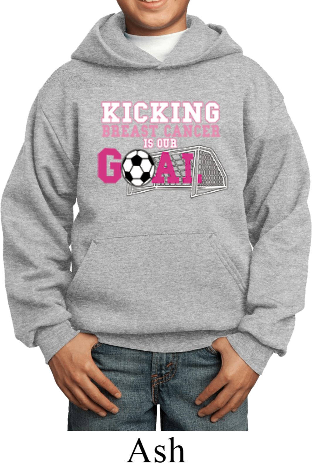Buy Cool Shirts Kids Breast Cancer Hoodie Kicking Cancer is Our Goal