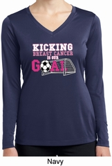 Kicking Breast Cancer is Our Goal Ladies Dry Wicking Long Sleeve Shirt