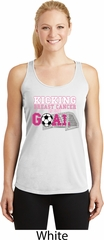 Kicking Breast Cancer is Our Goal Ladies Dry Wicking Racerback Tank