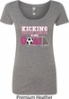 Kicking Breast Cancer is Our Goal Ladies Scoop Neck Shirt