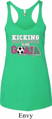 Kicking Breast Cancer is Our Goal Ladies Tri Blend Racerback Tank Top