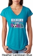 Kicking Breast Cancer is Our Goal Ladies Tri Blend V-Neck Shirt