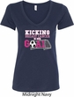 Kicking Breast Cancer is Our Goal Ladies V-Neck Shirt