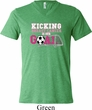 Kicking Breast Cancer is Our Goal Mens Tri Blend V-neck Shirt