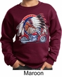 Kids Biker Sweatshirt Big Chief Indian Motorcycle Sweat Shirt