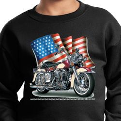 Kids Biker Sweatshirt Motorcycle Flag Sweat Shirt