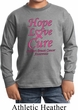 Kids Breast Cancer Tee Hope Love Cure Youth Long Sleeve