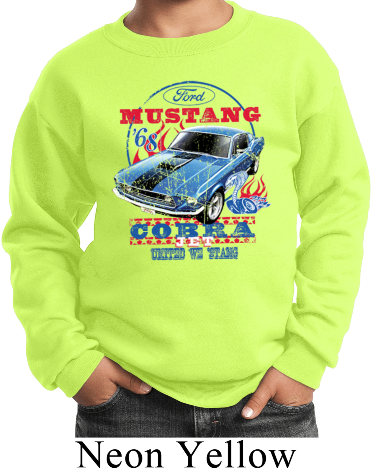 Ford Mustang Cobra 1968 Long Sleeve T-Shirt United We Stang American Classic Tee