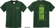 Kids Ford Tee Green Mustang Stripe (Front & Back) Youth Shirt