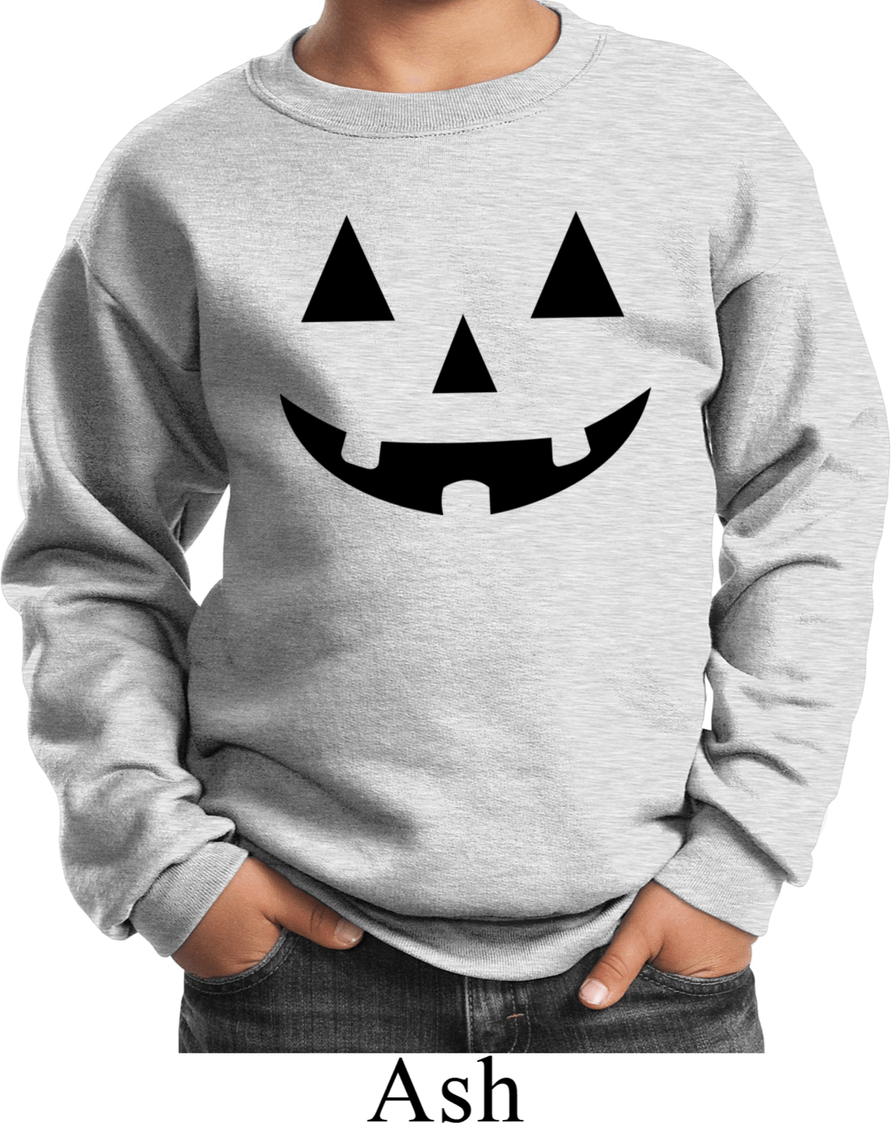 Kids Halloween Black Jack O Lantern Sweat Shirt