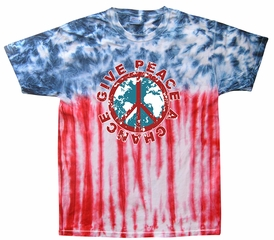 Kids Peace Tie Dye Shirt Give Peace A Chance Flag Youth Tie Dye