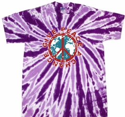 Kids Peace Tie Dye Shirt Give Peace A Chance Purple Youth Tie Dye