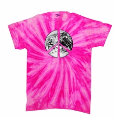 Kids Peace Tie Dye Shirt Peace Earth Bubblegum Twist Youth Tie Dye