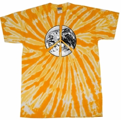 Kids Peace Tie Dye Shirt Peace Earth Gold Twist Youth Tie Dye