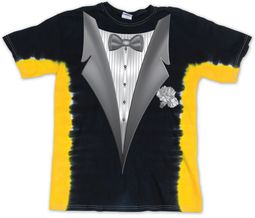 Kids Tuxedo Tux Shirt - Tie Dye T-bone Tee - Black/Gold