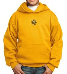 Kids Yoga Hoodie Black Lotus OM Patch Small Print Hoody