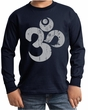 Kids Yoga Shirt Grey Distressed OM Long Sleeve Tee T-Shirt