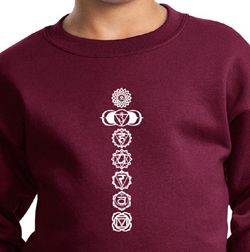 Kids Yoga Sweatshirt 7 Chakras White Print Youth Sweat Shirt