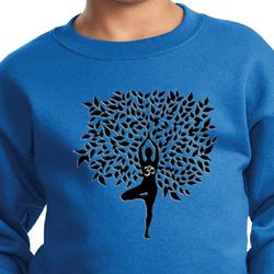 Kids Yoga Sweatshirt Black Tree Pose Sweat Shirt