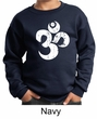 Kids Yoga Sweatshirt White Distressed OM Sweat Shirt