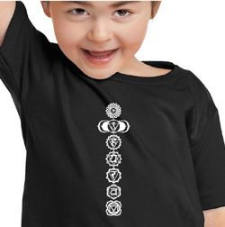 Kids Yoga T-Shirt 7 Chakras White Print Toddler Tee