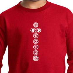 Kids Yoga T-Shirt 7 Chakras White Print Youth Long Sleeve Shirt