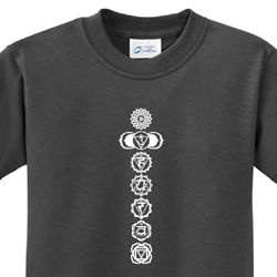Kids Yoga T-shirt 7 Chakras White Print Youth Tee