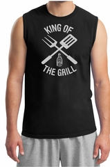 King Of The Grill Shooter Shirt Barbecue Utensils Adult Muscle Shirt