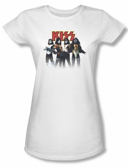 Kiss Rock Band Shirt Juniors Throwback Pose White Tee T-Shirt