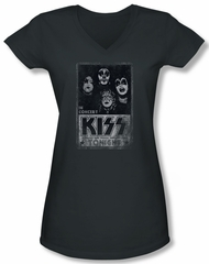 Kiss Rock Band Shirt Juniors V Neck In Concert Live Charcoal Tee Shirt