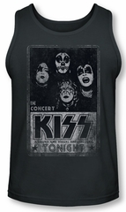 Kiss Rock Band Tank Top In Concert Live Charcoal Tanktop