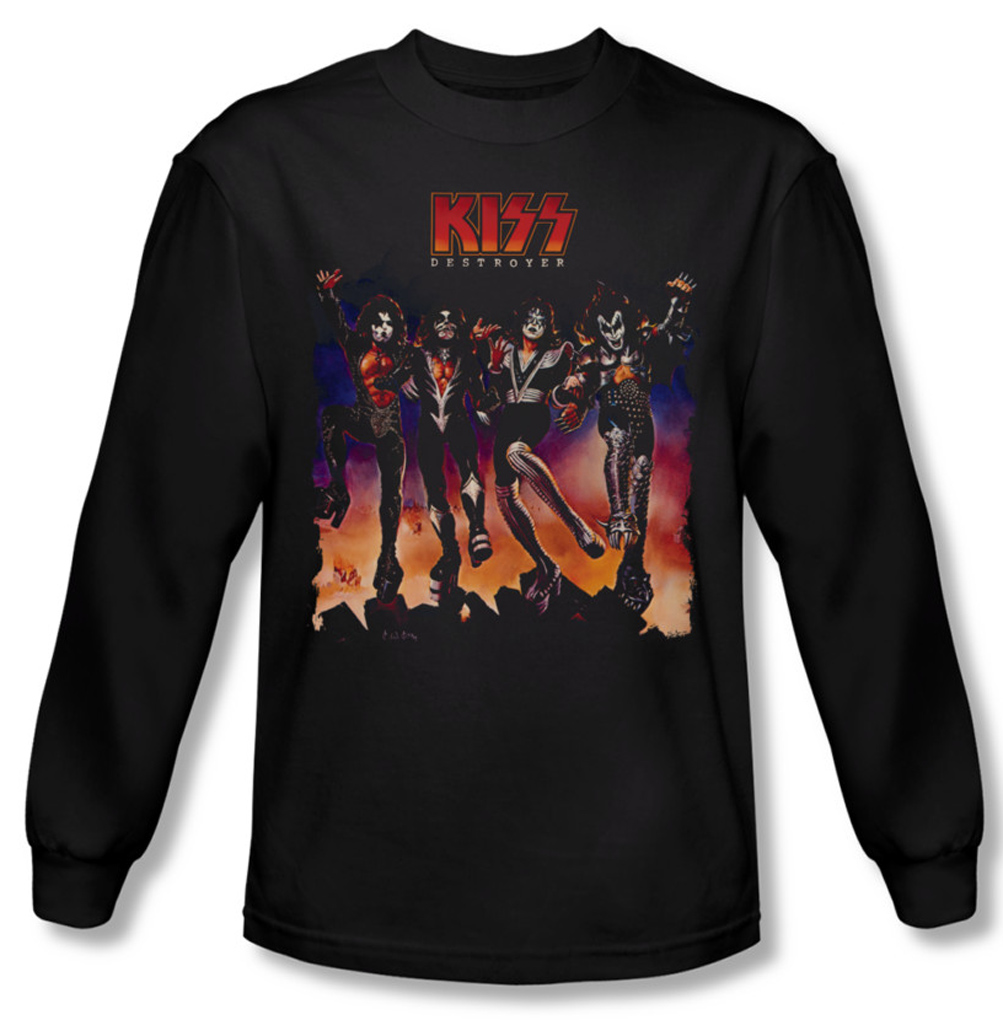 kiss shirt rock band destroyer cover long sleeve black tee. Black Bedroom Furniture Sets. Home Design Ideas