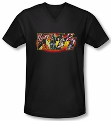 Kiss Shirt Rock Band Slim Fit V Neck Stage Logo Black Tee Shirt