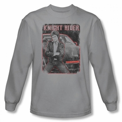 Knight Rider Shirt Distressed Photo Long Sleeve Silver Tee T-Shirt