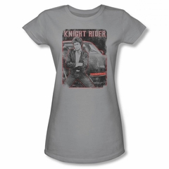 Knight Rider Shirt Juniors Distressed Photo Silver T-Shirt