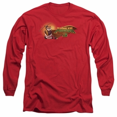 Kung Fu Panda 3 Long Sleeve Shirt Po Logo Red Tee T-Shirt