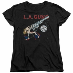 L.A. Guns Womens Shirt Cocked And Loaded Black T-Shirt
