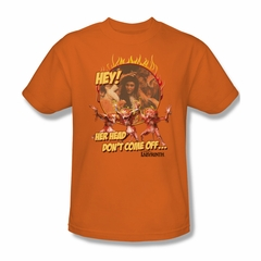 Labyrinth Shirt Head Don't Come Off Adult Orange Tee T-Shirt