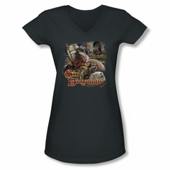 Labyrinth Shirt Juniors V Neck Sir Didymus Charcoal Tee T-Shirt
